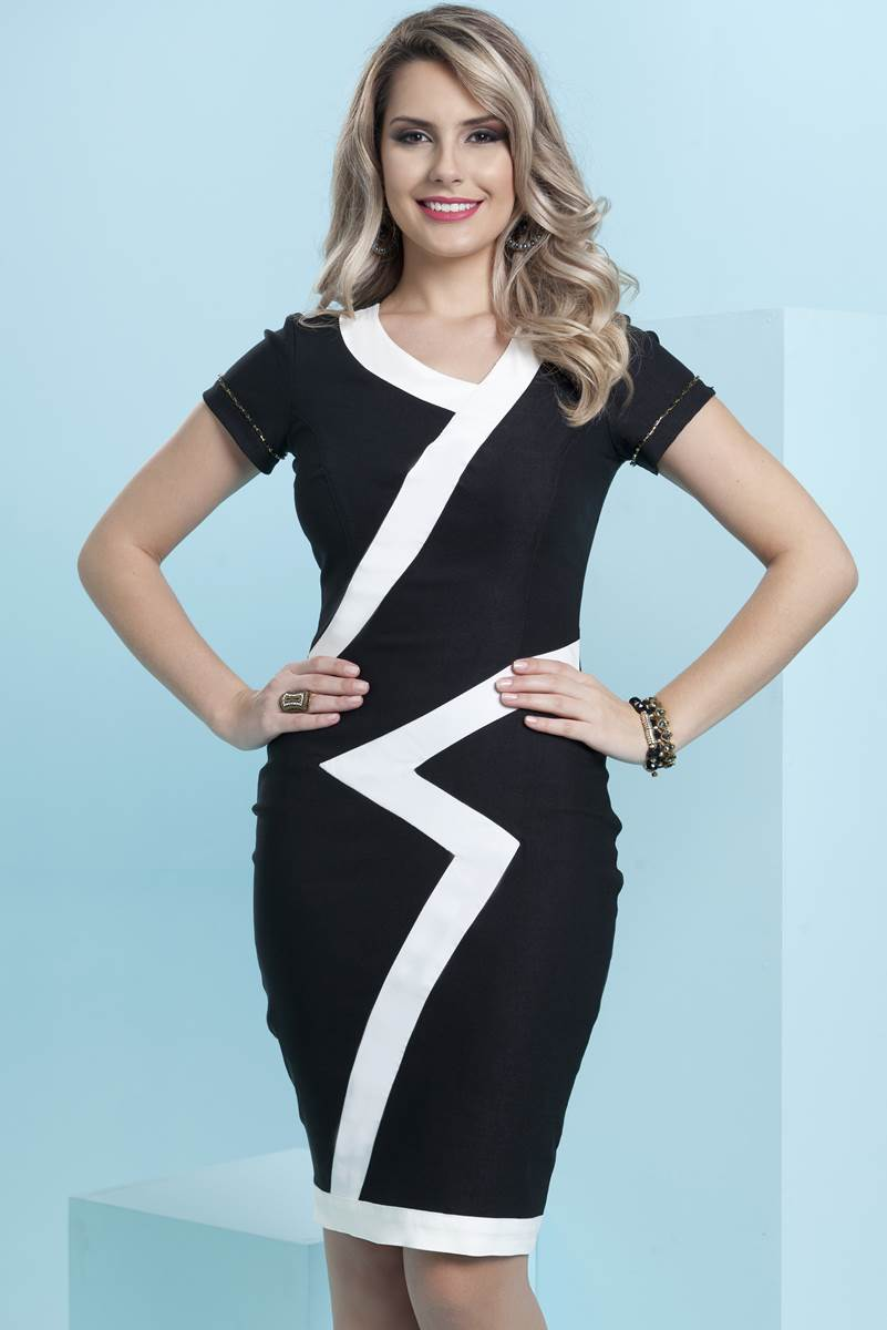 Vestido Bella Herança Black and White 6954