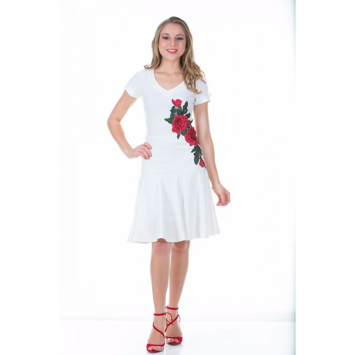 Vestido degradê off white Ella´s 1501