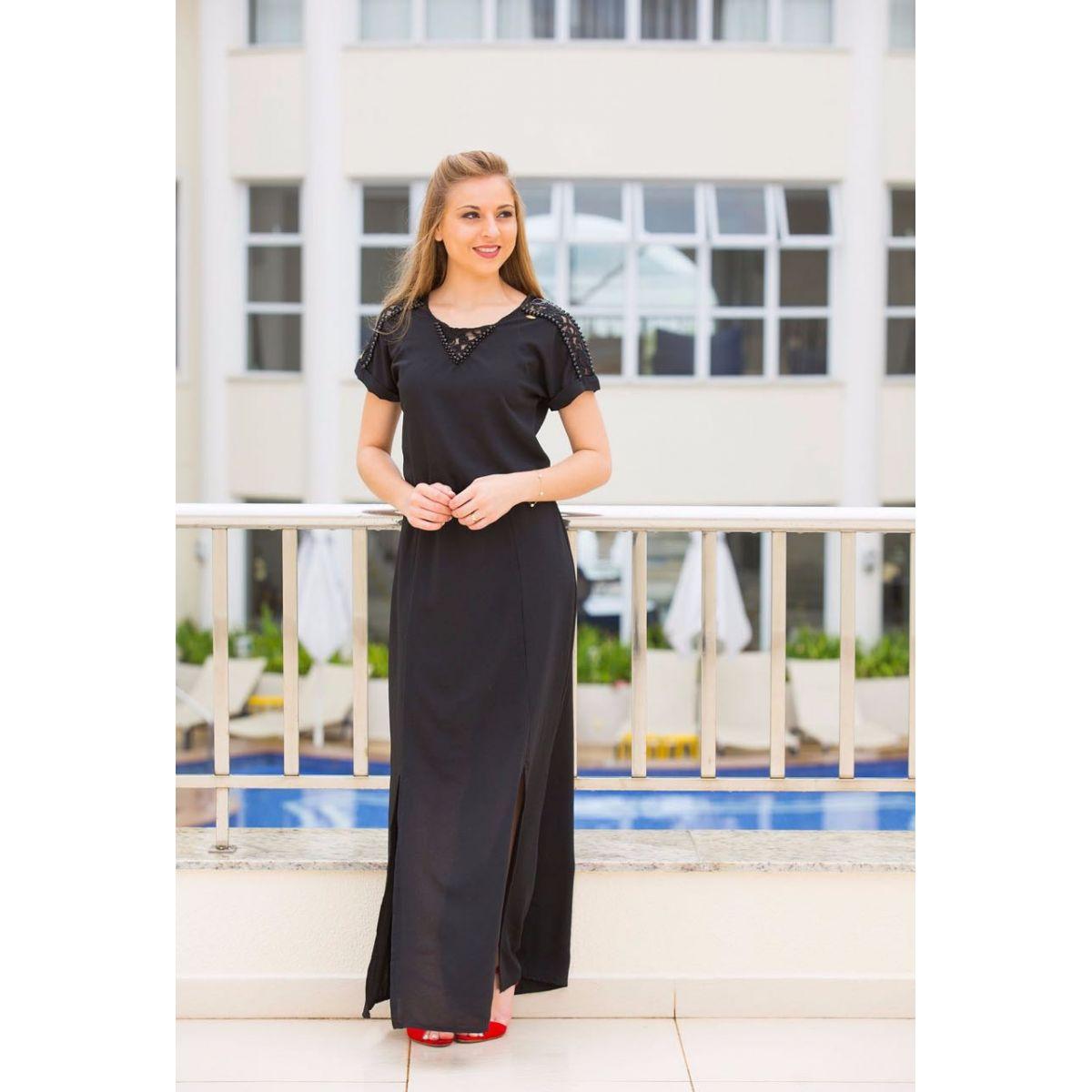 Vestido abertura longo preto Ella´s 1474