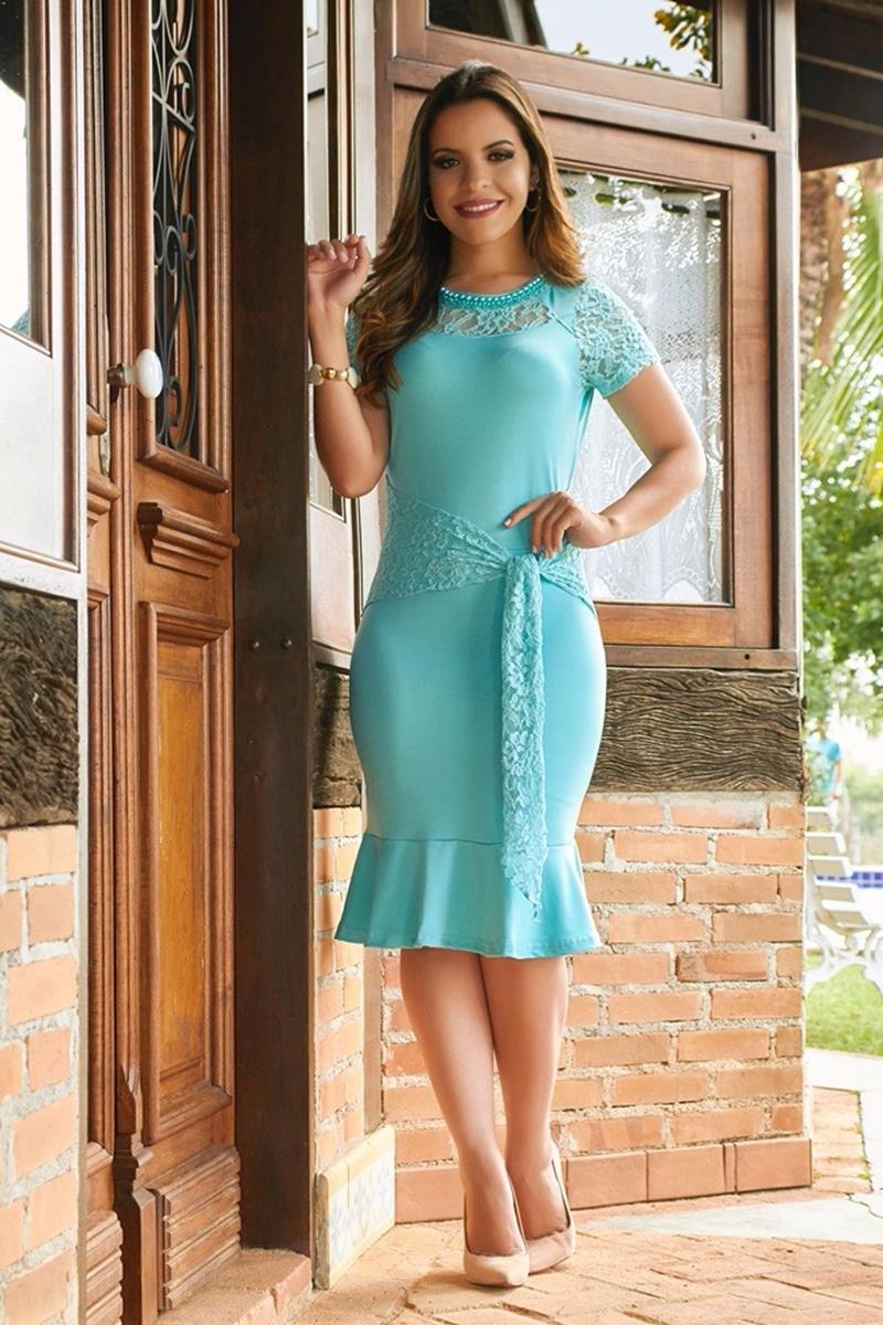 Vestido bordado azul Ella´s 1446