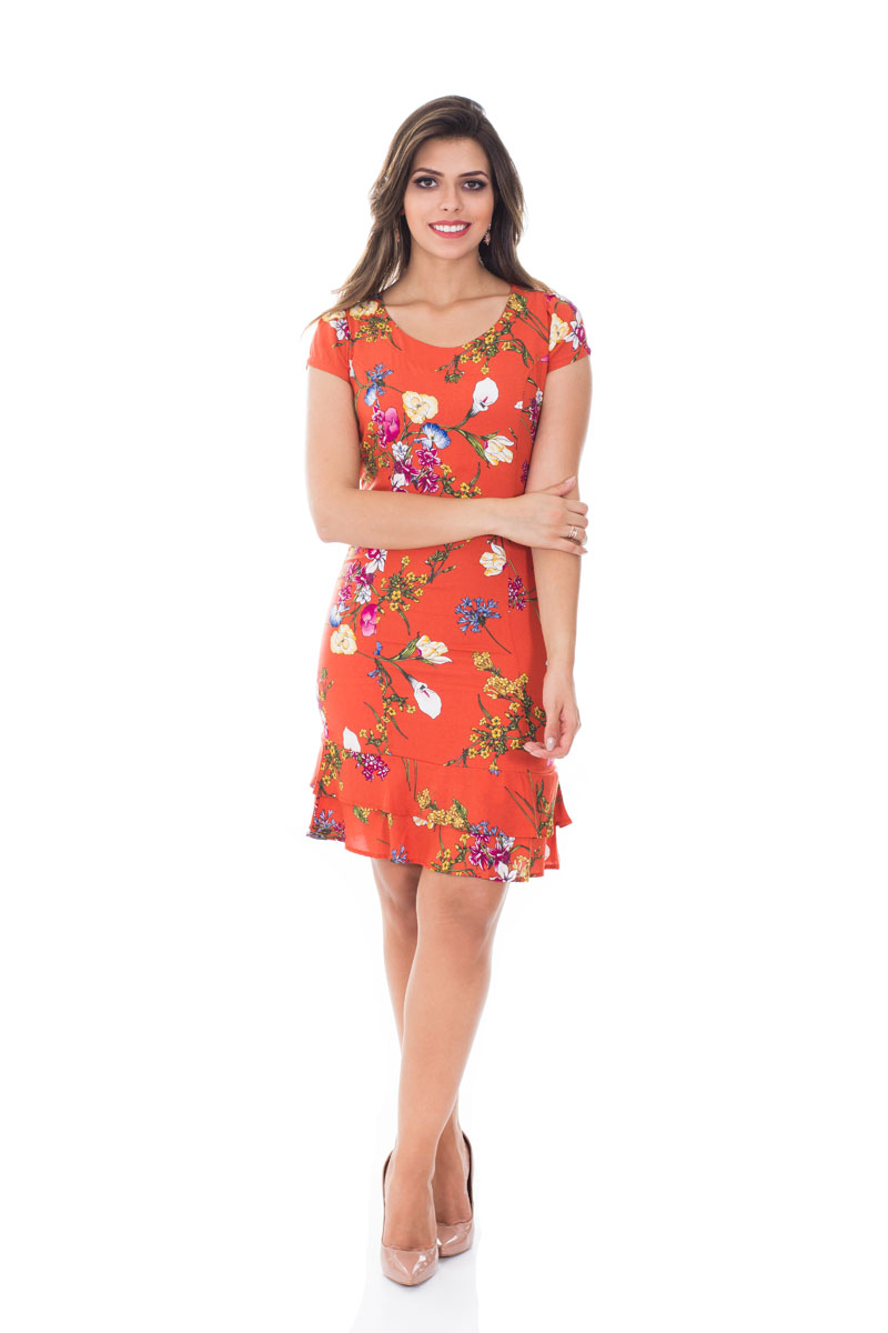 Vestido babado barra laranja florido 31149