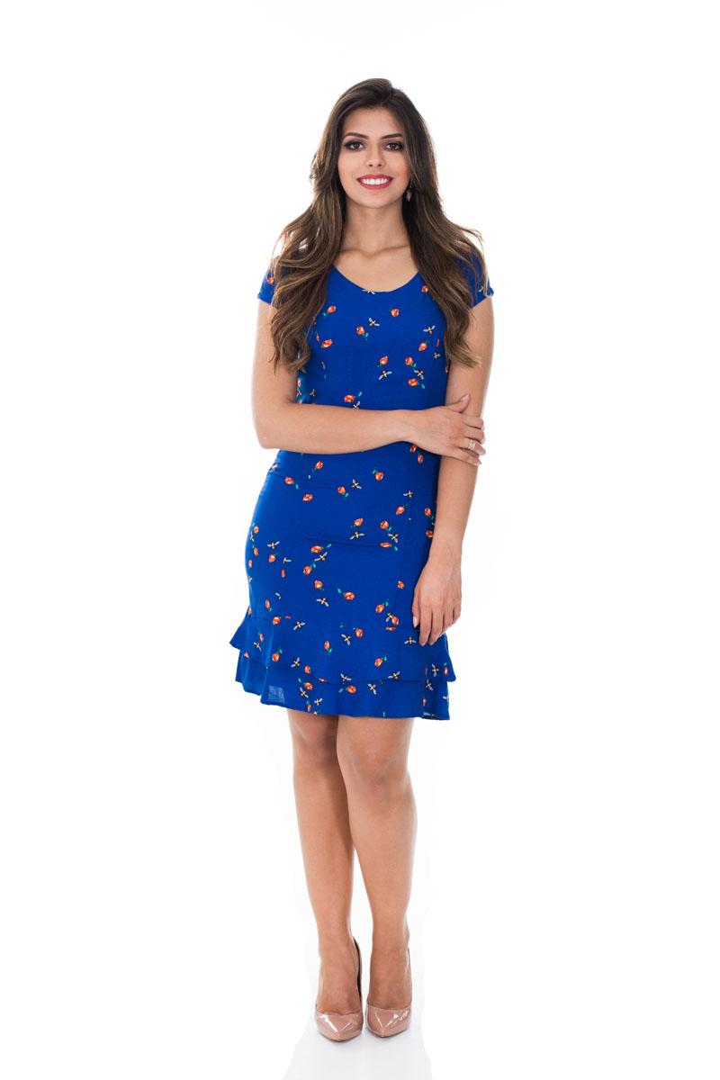 Vestido babado barra azul marinho Vita Leite 31149