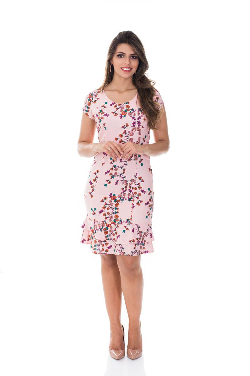 Vestido babado barra rose florido Vita Leite 31149