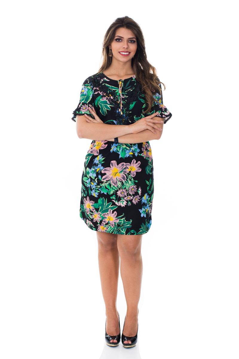 Vestido aplicação bordado preto verde floral Vita Leite 31151