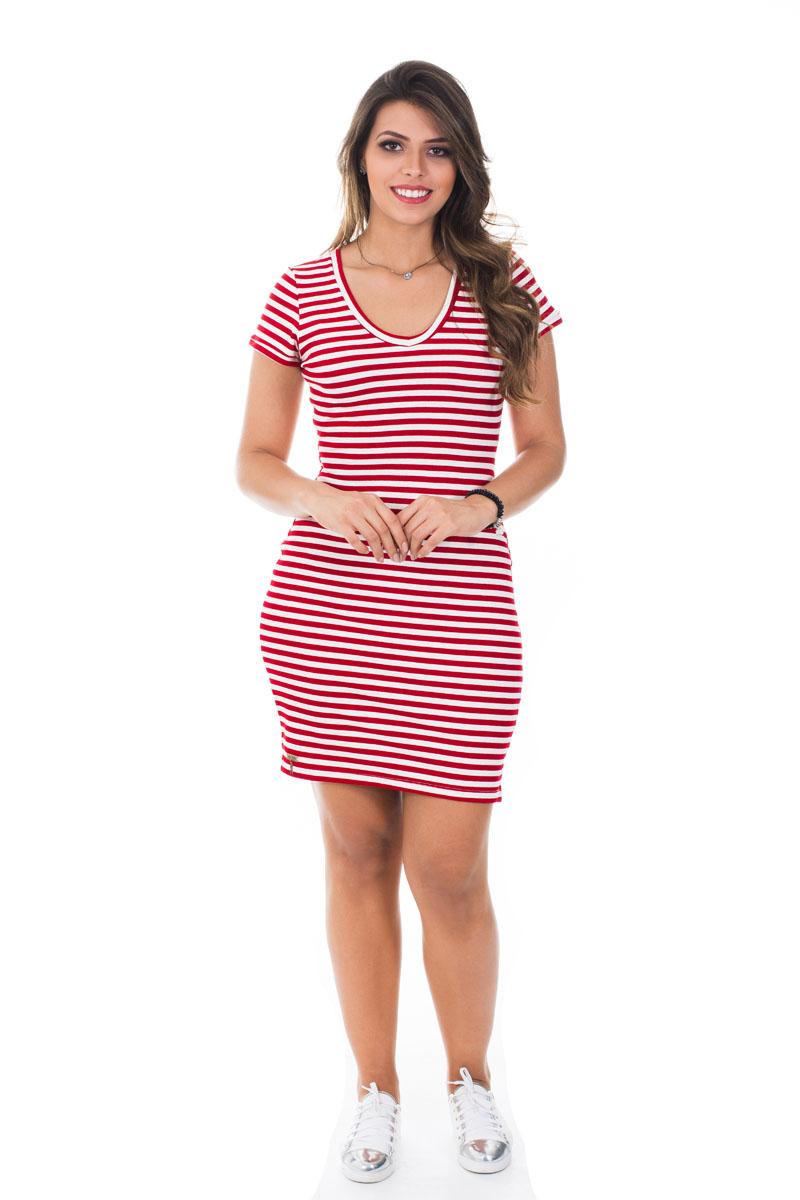 Vestido listrado vermelho Luana SB114A