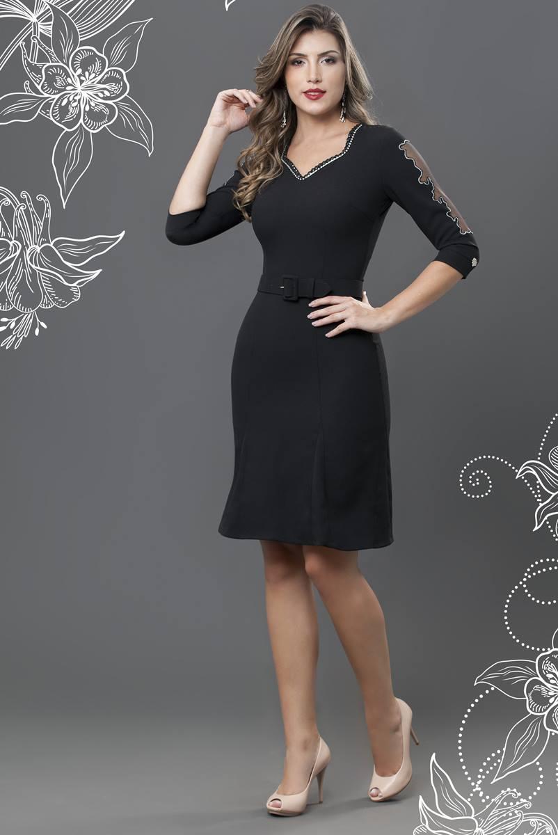 Vestido Bella Heran�a Preto 6502