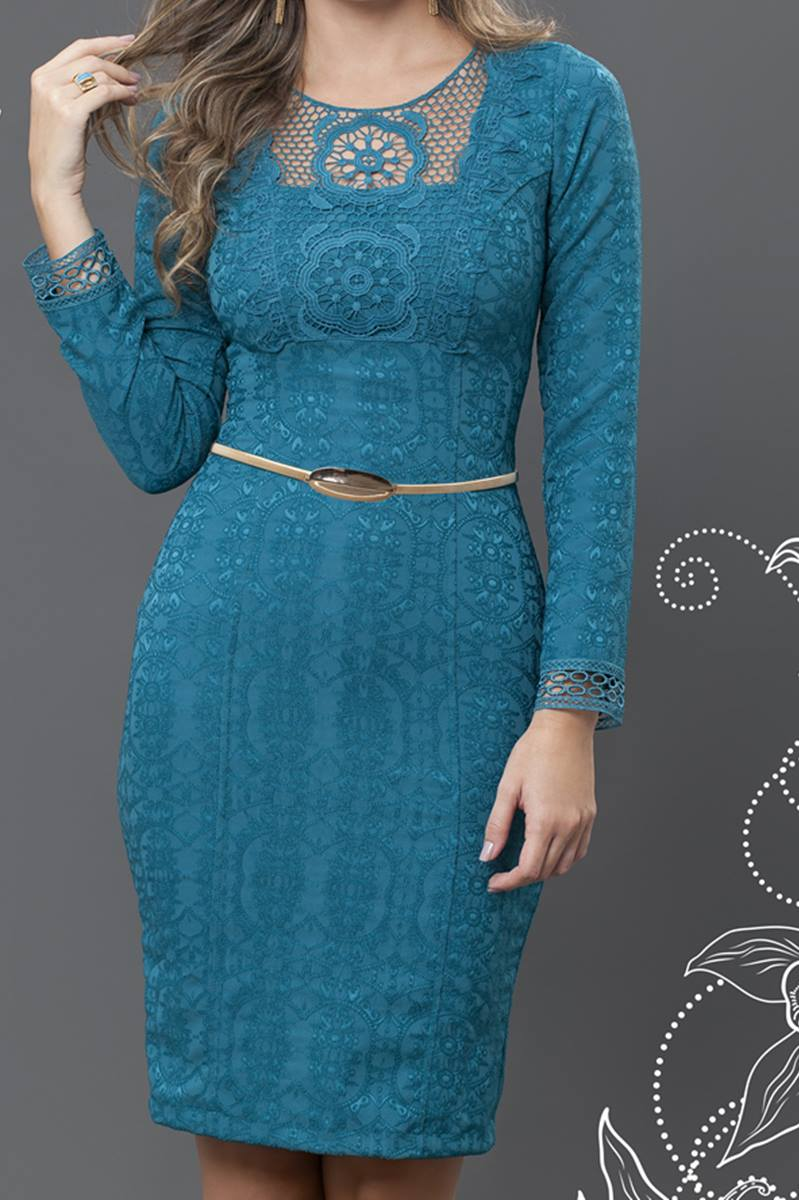 Vestido Bella Herança Barrow Azul 6507