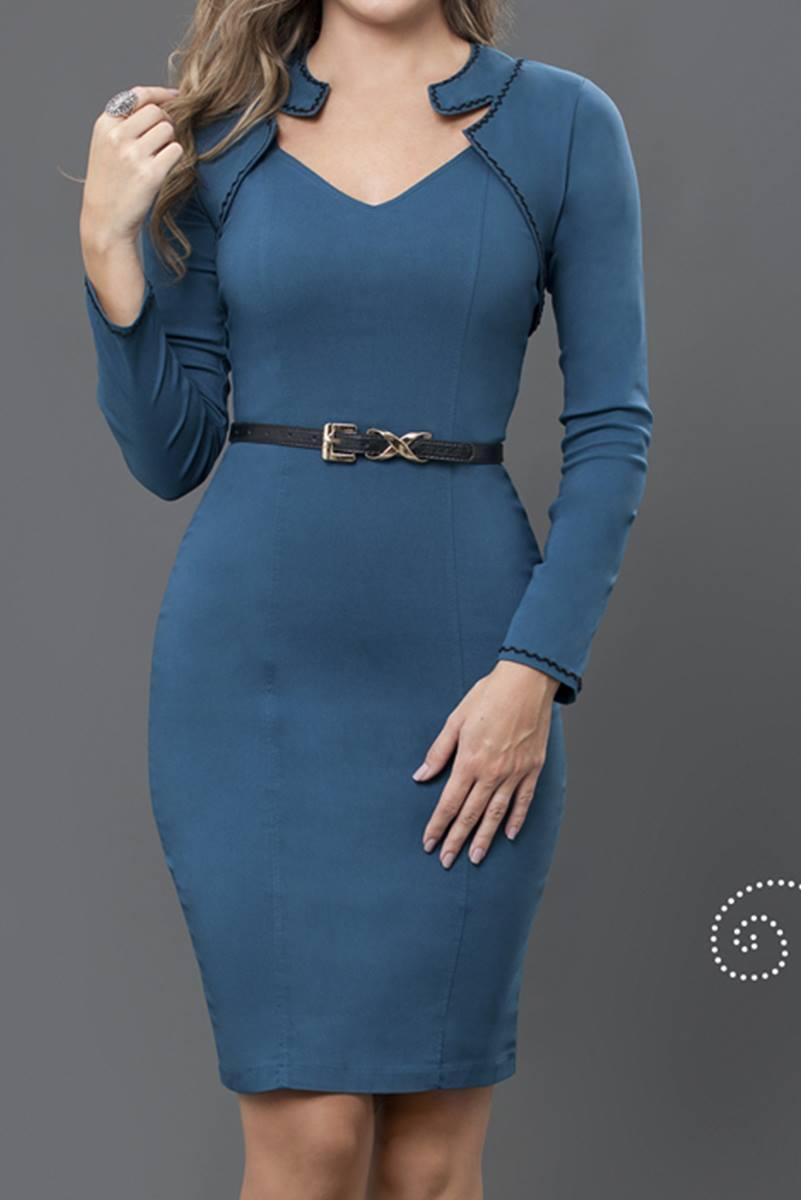 Vestido Bella Herança Azul Escuro 6528