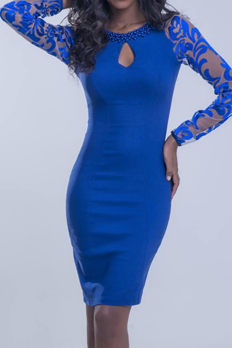 Vestido Mulata Café azul 3090