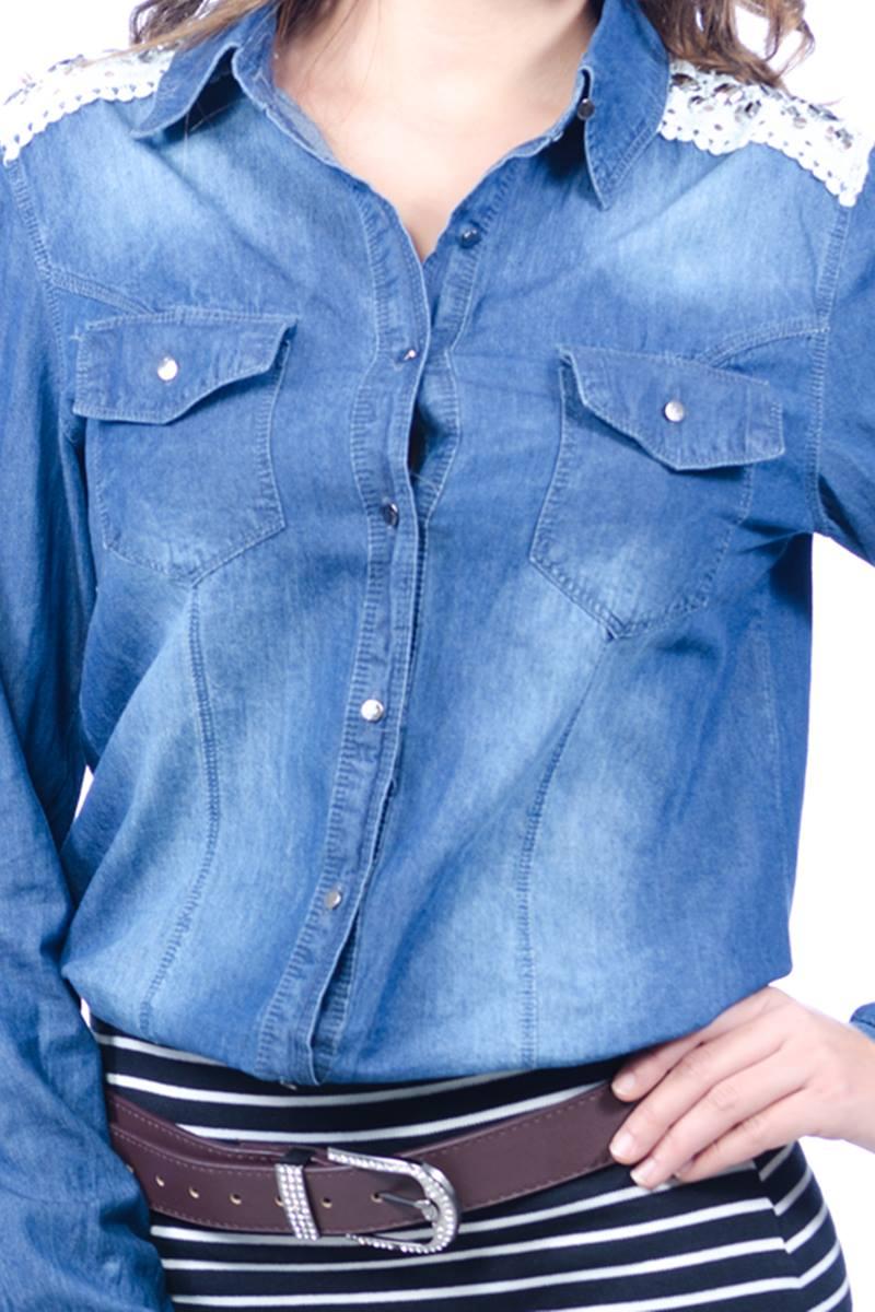 Camisa Jeans Escuro Holin Stone 29675