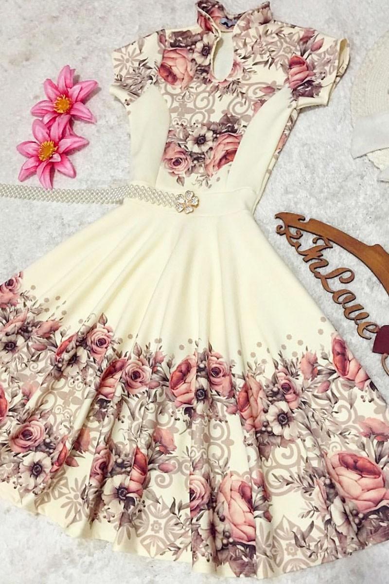 Vestido Ingrid Saia Bella -SB5607 ENCOMENDE JÁ O SEU