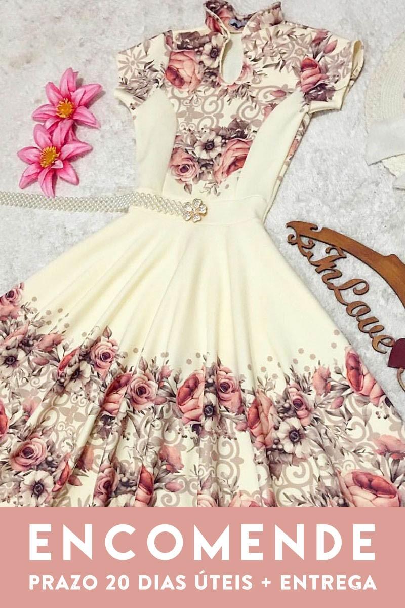 Vestido Ingrid Saia Bella -SB5607 ESGOTADO-  SOMENTE SOB ENCOMENDA