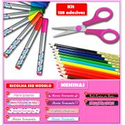 Etiquetas Adesivas para Lápis, Canetas, Escovas e Utensílios - Kit MENINAS 138 Unid.