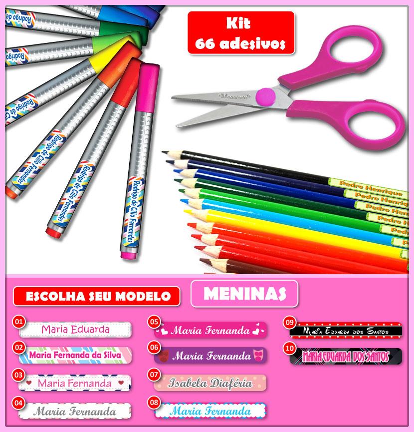 Etiquetas Adesivas para Lápis, Canetas, Escovas e Utensílios - Kit MENINAS 66 Unid.  - Identifix Adesivos Personalizados