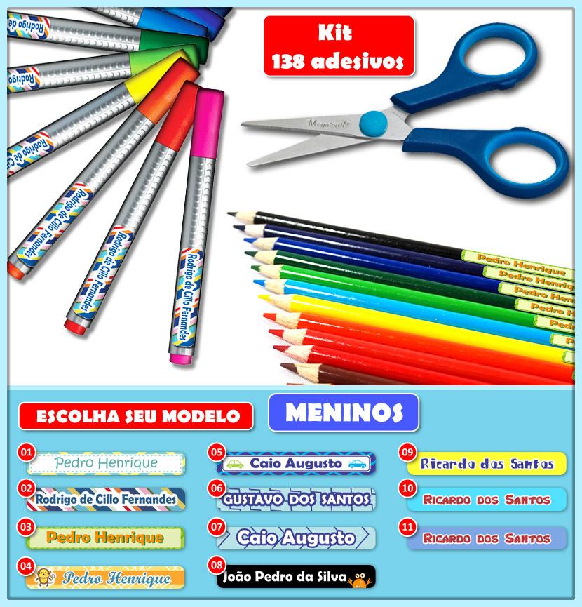 Etiquetas Adesivas para Lápis, Canetas, Escovas e Utensílios - Kit MENINOS 138 Unid.  - Identifix Adesivos Personalizados