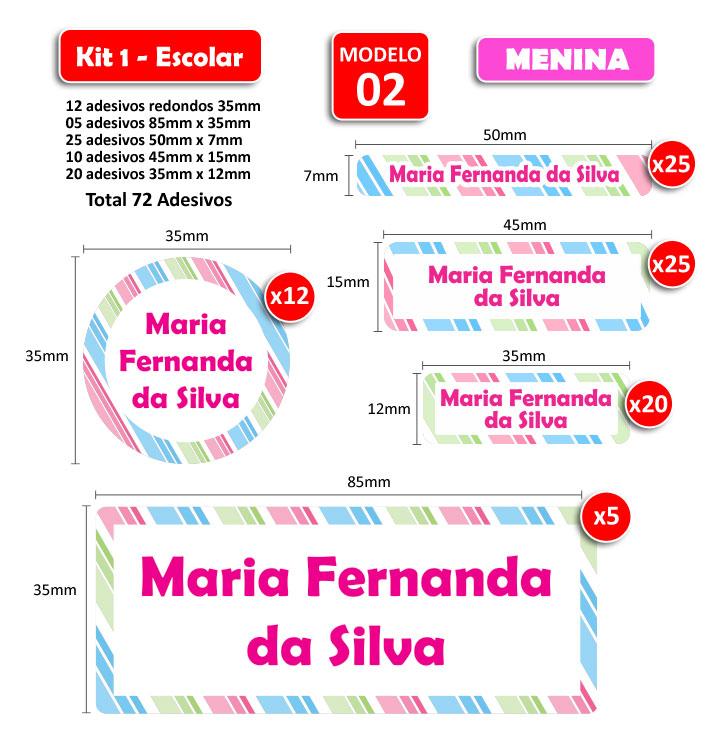 Kit1 Escolar - Meninas 72 Etiquetas Adesivas  - Identifix Adesivos Personalizados