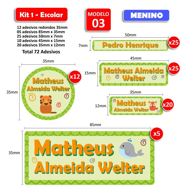 Kit1 Escolar - Meninos 72 Etiquetas Adesivas  - Identifix Adesivos Personalizados