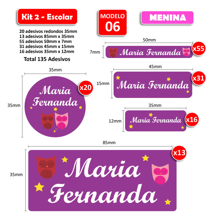 Kit2 Escolar - Meninas 135 Etiquetas Adesivas  - Identifix Adesivos Personalizados