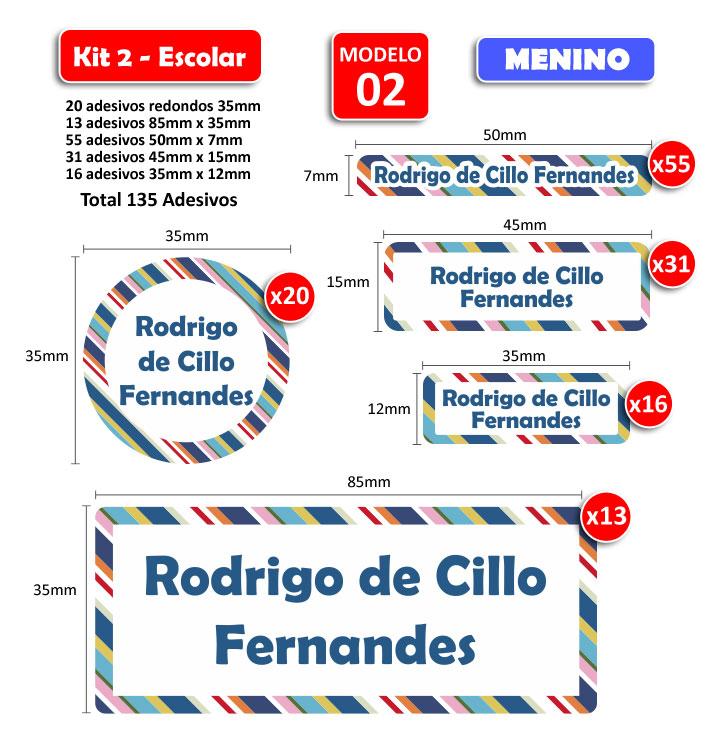 Kit2 Escolar - Meninos 135 Etiquetas Adesivas  - Identifix Adesivos Personalizados