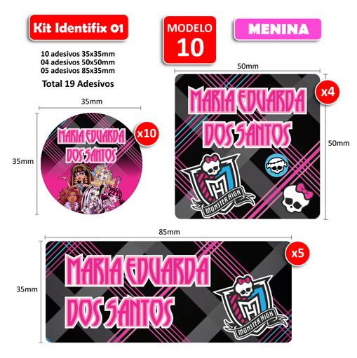 Kit Identifix 01 Meninas - 19 Adesivos  - Identifix Adesivos Personalizados