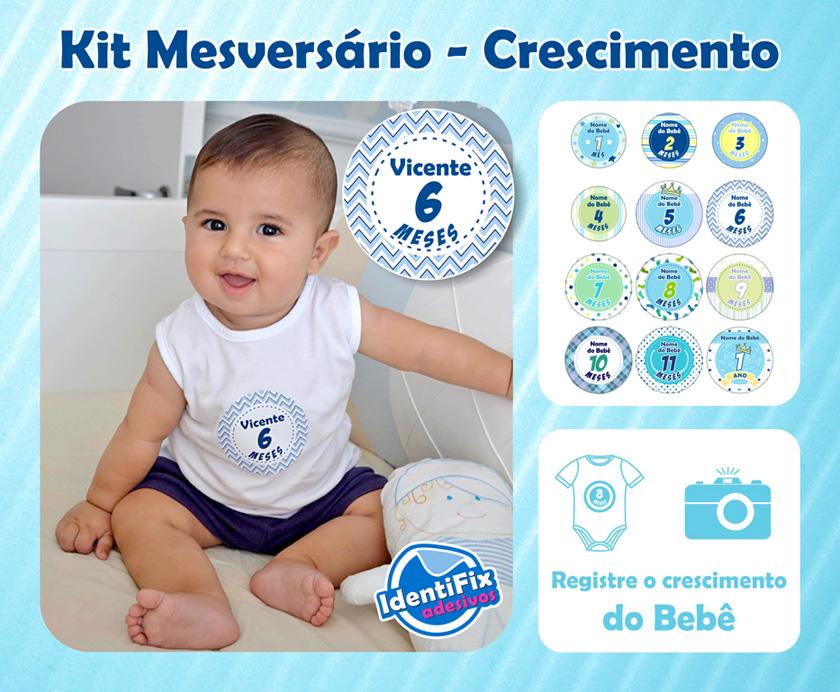 Kit Mesversário Meninos - com nome  - Identifix Adesivos Personalizados