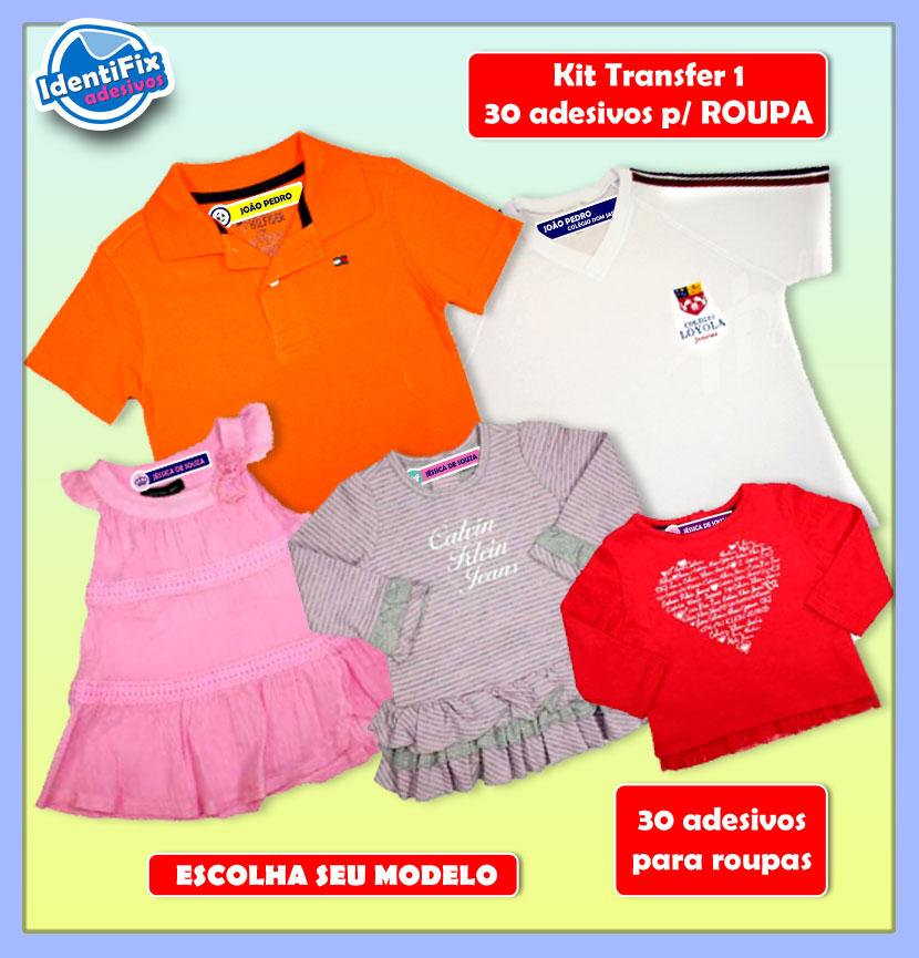 Kit Transfer 1 - 30 Adesivos para roupas  - Identifix Adesivos Personalizados