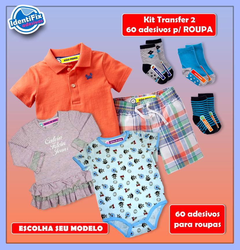 Kit Transfer 2 - 60 Adesivos para roupas  - Identifix Adesivos Personalizados