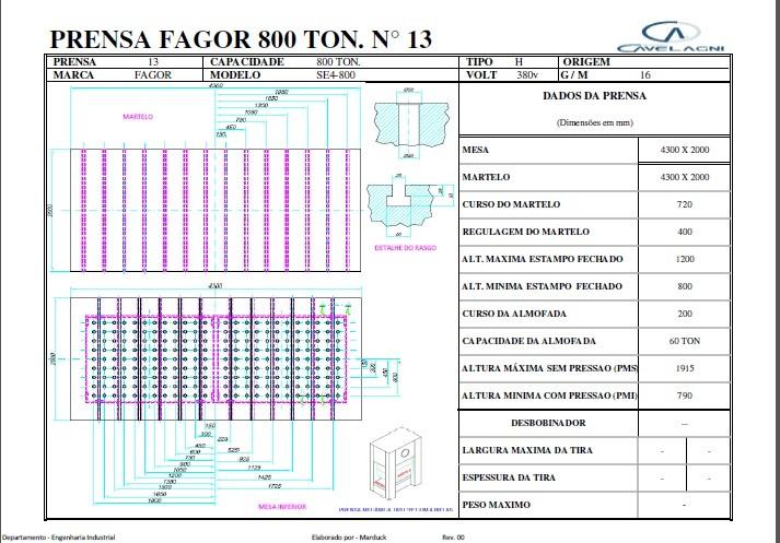 Prensa Excêntrica marca Fagor tipo H 800 ton  #1- 1213    - AEG Comercial