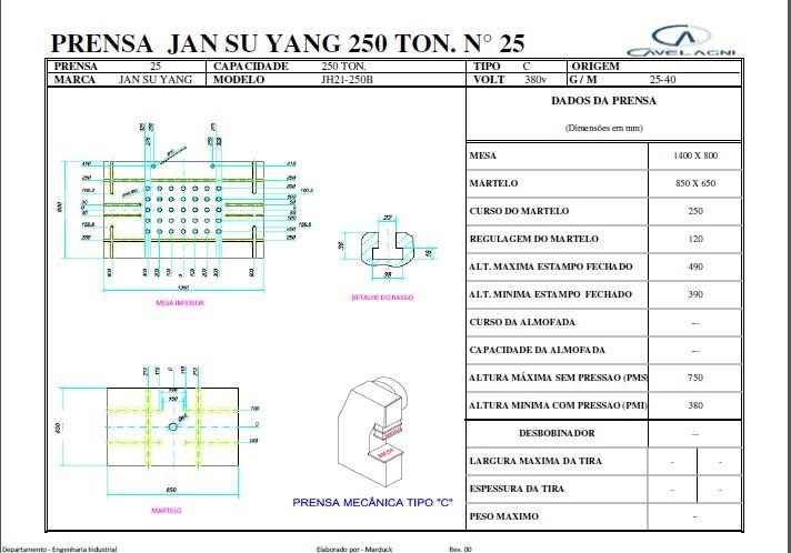 Prensa Excêntrica marca Jian su yang 250 ton #12-1224  - AEG Comercial