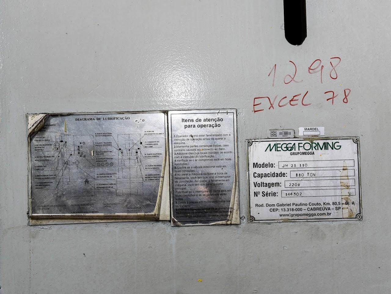 Prensa Excêntrica marca JIN MEGGA FORMING 110 ton #31-1298  - AEG Comercial