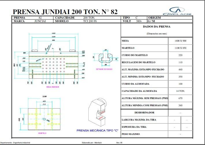 Prensa Excêntrica marca Jundiaí Capacidade 200 ton #1282  - AEG Comercial