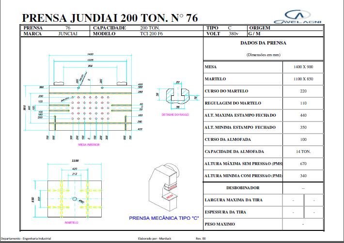 Prensa Excêntrica marca Jundiaí TCI 200 ton #25-1276  - AEG Comercial