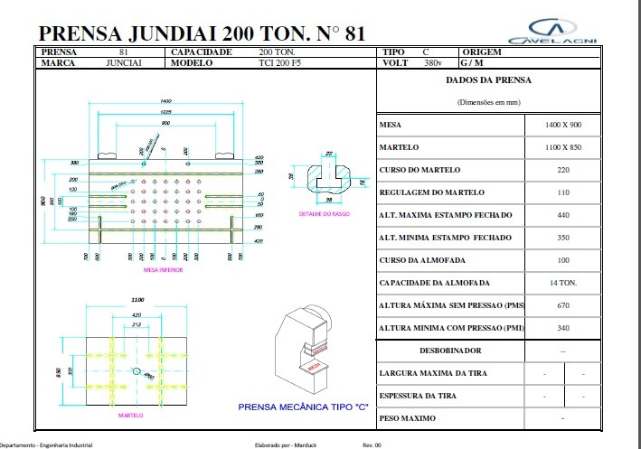 Prensa Excêntrica marca Jundiaí TCI 200 ton #26-1280  - AEG Comercial