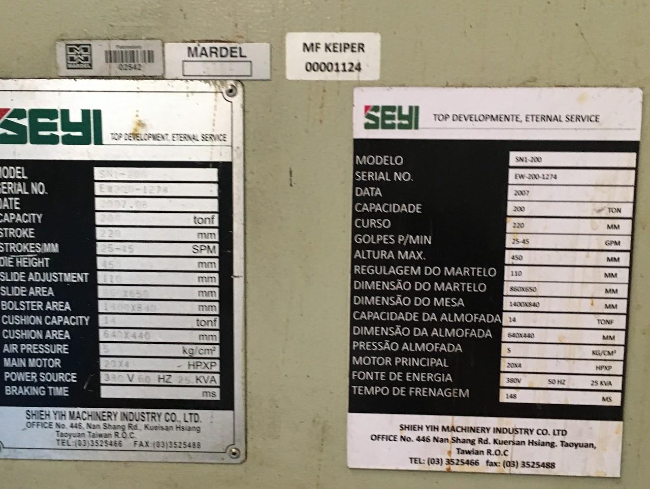 Prensa Manual Marca Seyi 200 ton #1124  - AEG Comercial