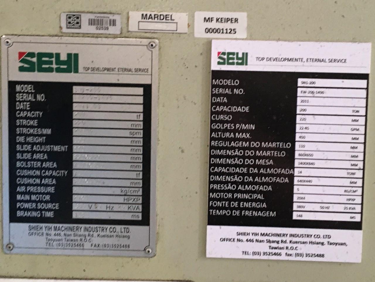 Prensa Manual Marca Seyi 200 ton #21-1125  - AEG Comercial