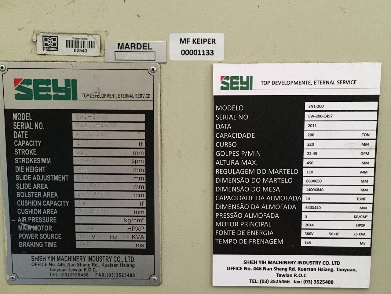 Prensa Excêntrica F.F marca Seyi capacidade 200 ton  #24-1133  - AEG Comercial