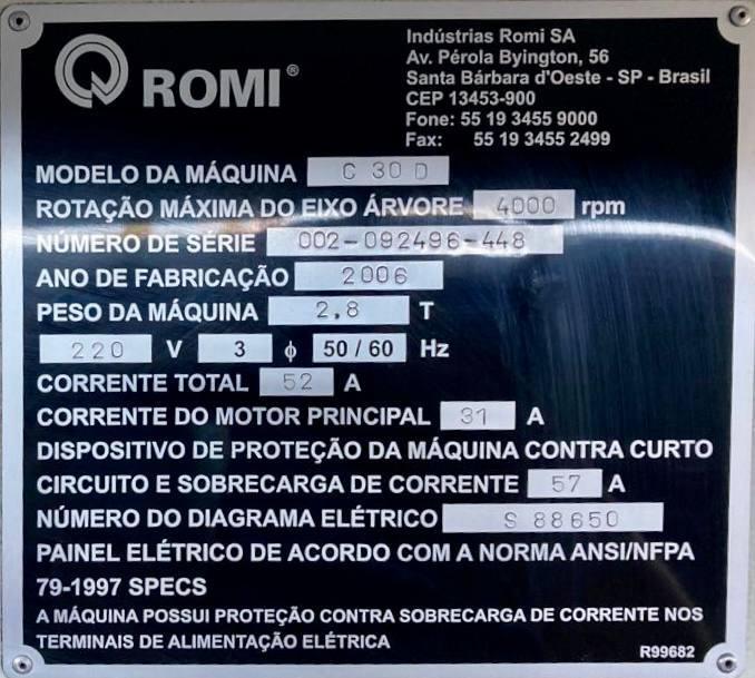 Torno CNC Romi Centur 30D  - AEG Comercial