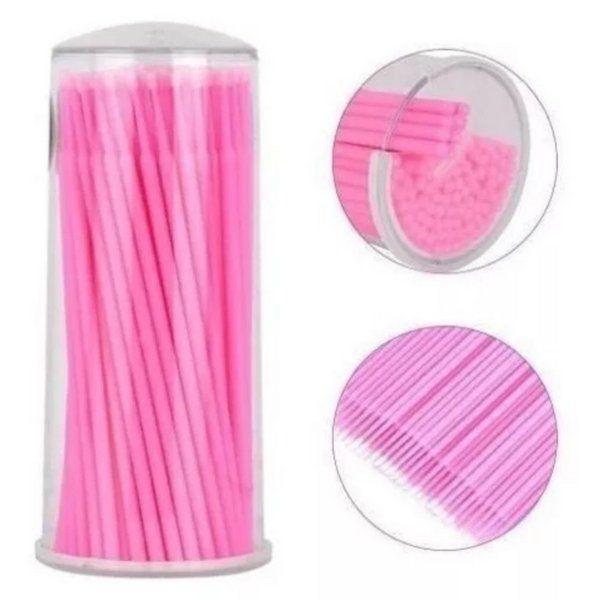 100 Pincéis Microbrush para Remoção de Cílios - Tam M