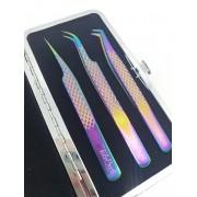 Case com 3 Pinças Tudobuni Multicolor - Volume, Leve Curvatura e Curva
