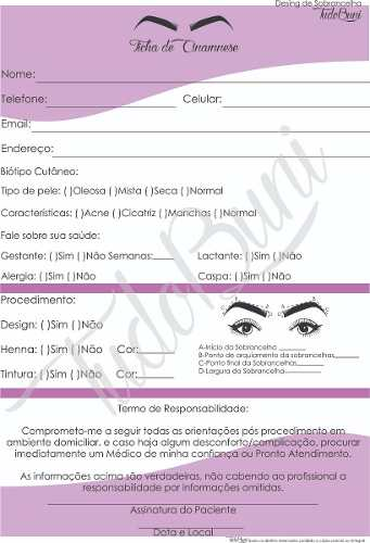 Ficha De Anamnese Para Design De Sobrancelhas