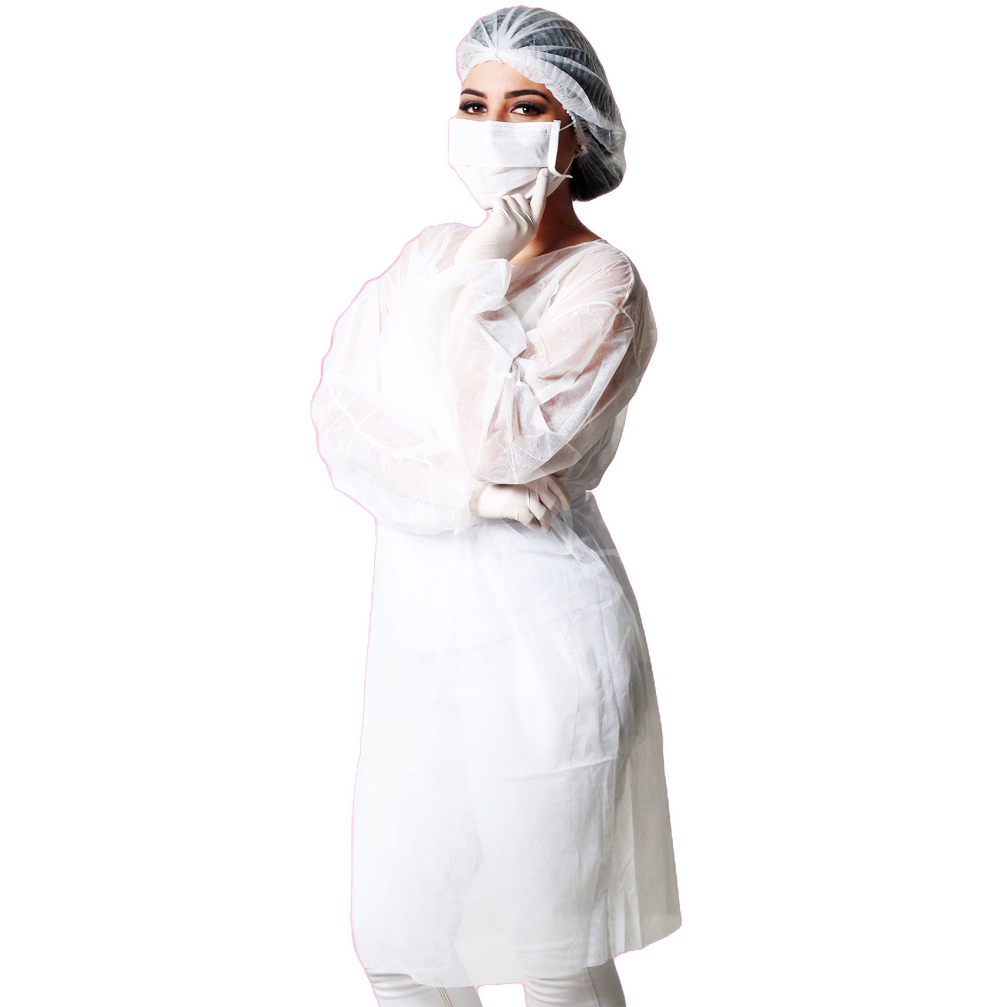 Avental Descartável TNT Branco Maga Longa - 20g