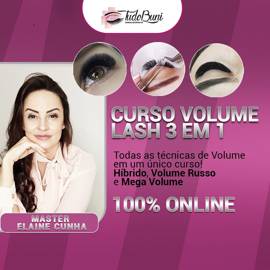 CURSO ONLINE AVANÇADO VOLUME LASH 3 EM 1 - HÍBRIDO, VOLUME RUSSO E MEGA VOLUME + BÔNUS