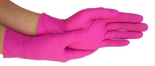 Luva Descartável Latex Rosa Pink Com Pó - 100un