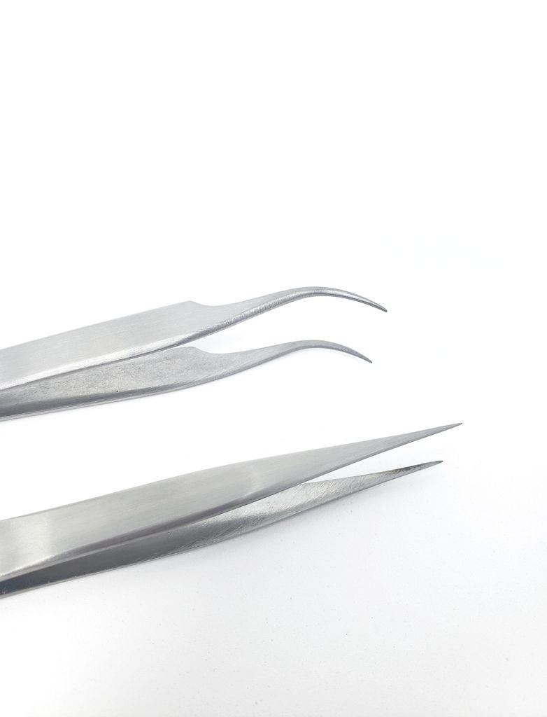 Par de Pinças para Alongamento de Cílios Fio a Fio - Aço Inox