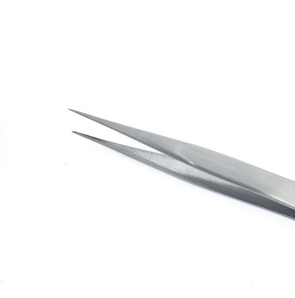 Pinça Reta para Alongamento de Cílios Fio a Fio - Aço Inox