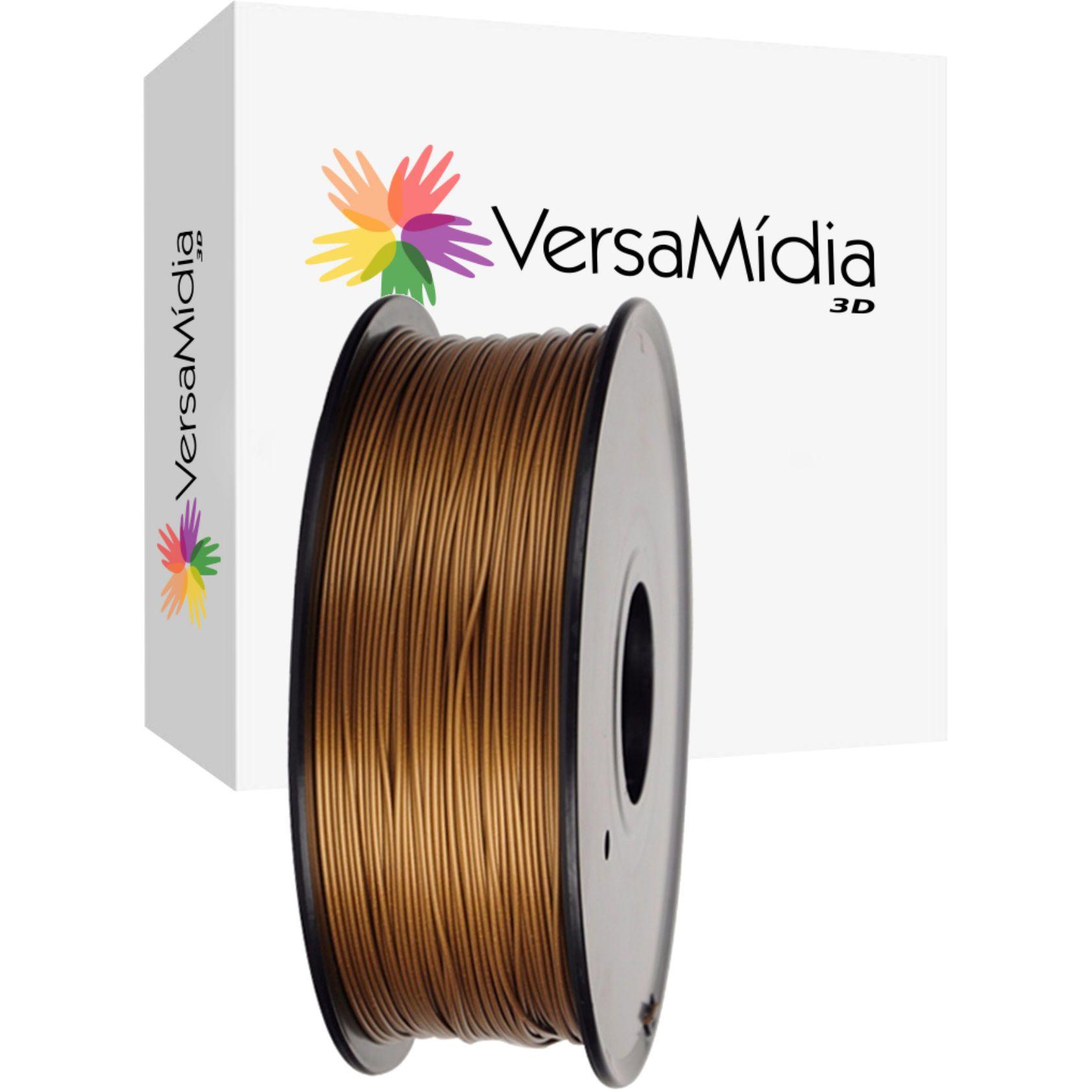 Filamento Metal + PLA  (Cobre)  VersaMídia 3D Premium  1.75mm Black Spool