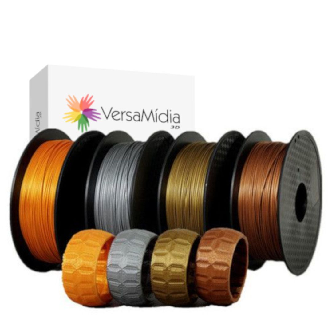 Filamento Metal + PLA  VersaMídia 3D Premium  1.75mm 0.5Kg Black Spool - cód. 11515, 11519