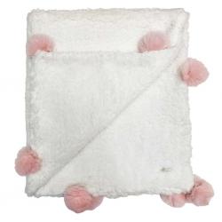Cobertor Bebê Luxo Pompom - Rosa Claro