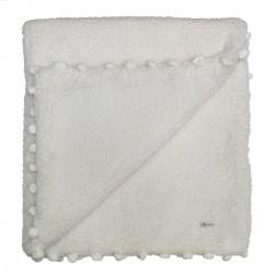 Cobertor Bebê Super Fofo Mini PomPom - Off White