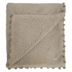 Cobertor Bebê Super Fofo PomPom - Caqui